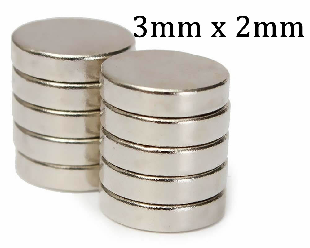 Neodymium Disc Magnets - 2mmx3mm - x10