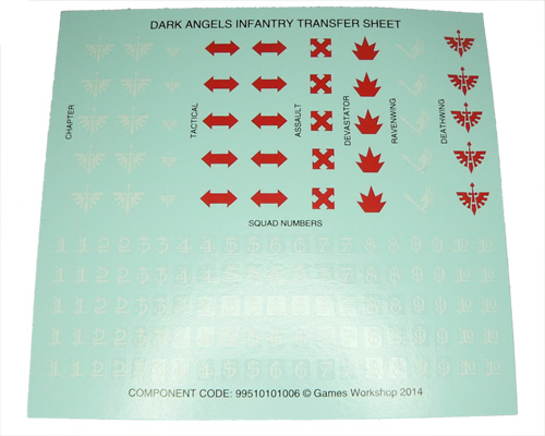 Dark Angels Infantry Transfer Sheet