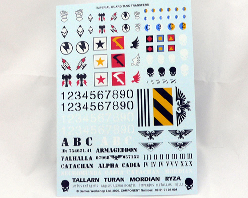 Astra Militarum Vehicle Transfer Sheet