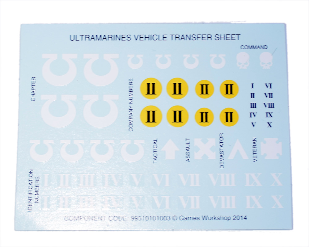 Ultramarines Vehicle Transfer Sheet
