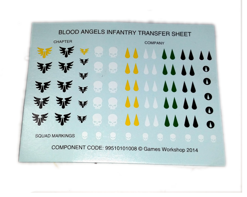 Blood Angels Infantry Transfer Sheet