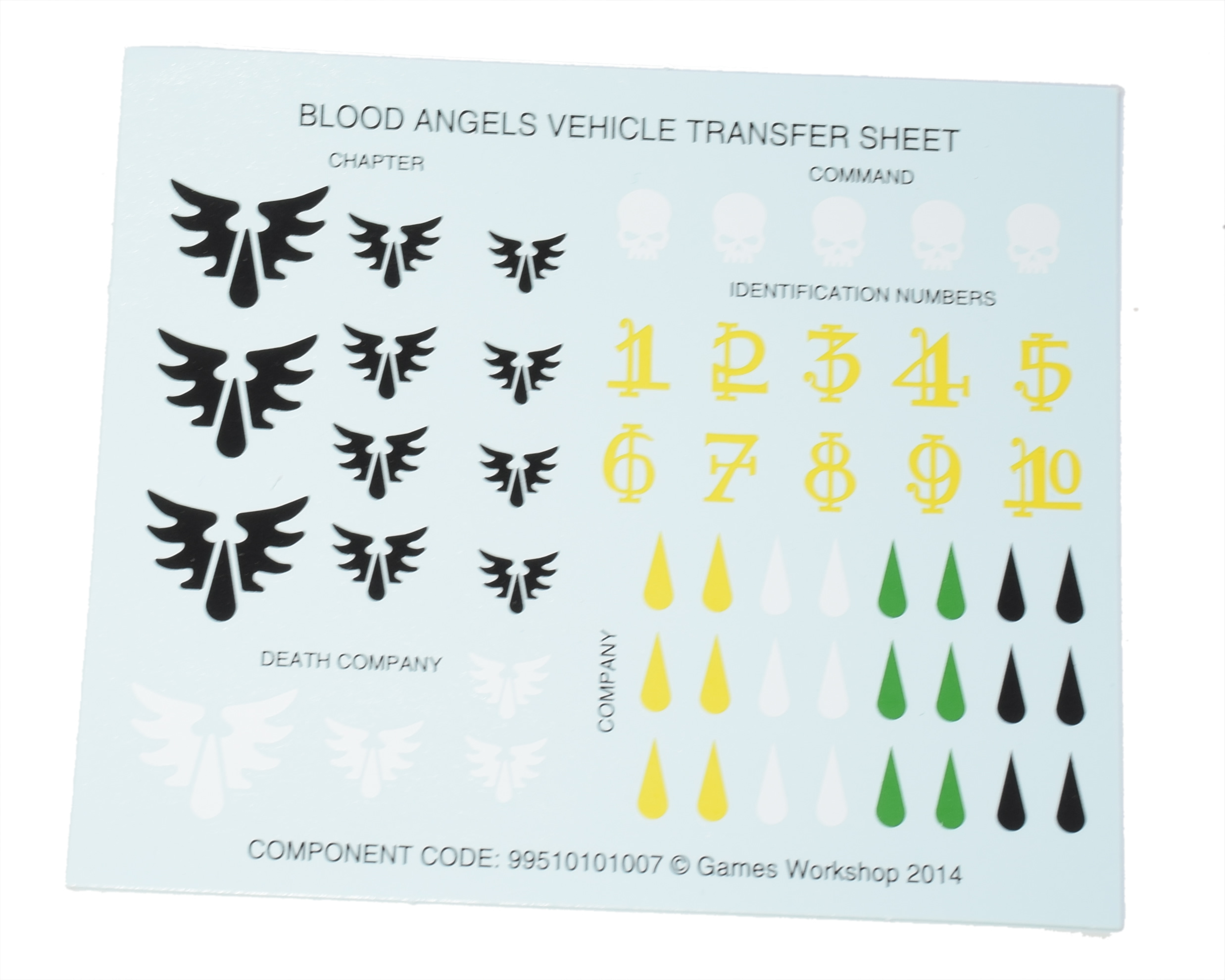 Blood Angels Vehicle Transfer Sheet